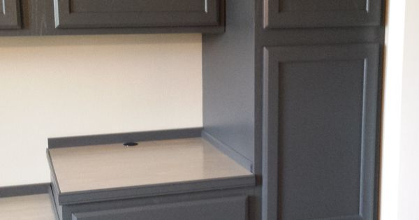 Finished Cabinets Painted In Behr Cracked Pepper Office
