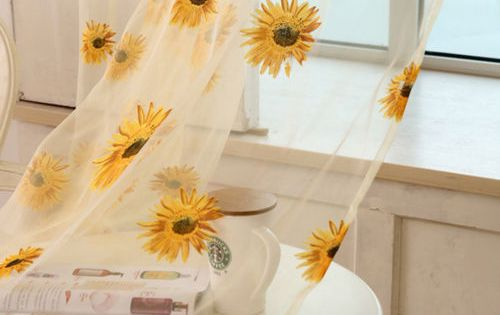 Details About Tulle Window Sunflower Curtain Drape Divider