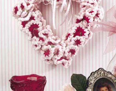 Ruffles And Roses Valentine Wreath Free Crochet Pattern