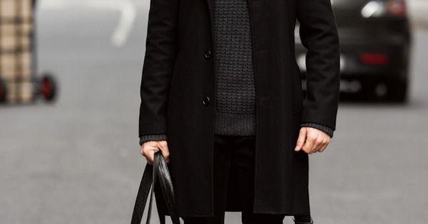 Men's Black Overcoat, Charcoal Crew-neck Sweater, Black ...