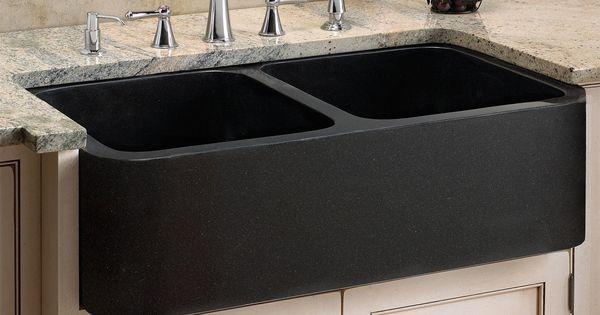 33 Polished Granite Double Bowl Farmhouse Sink Black