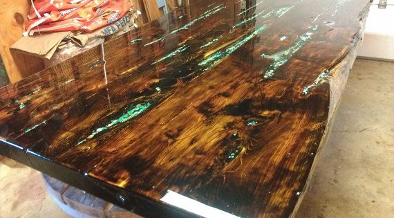 Custom Made Cedar Table W Turquoise Inlays By