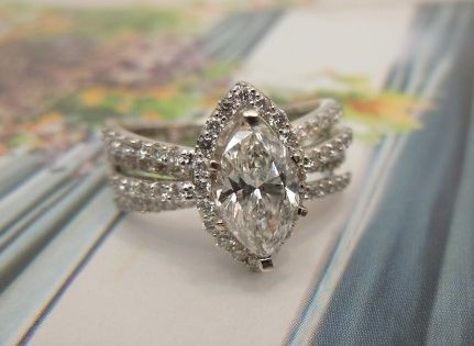 Here S A Stunning Engagement Wedding Ring Setting To Make A Marquise Diamond Look Modern And
