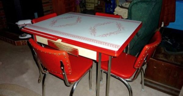 Vintage Metal Kitchen Tables And Chairs Retro 1950s