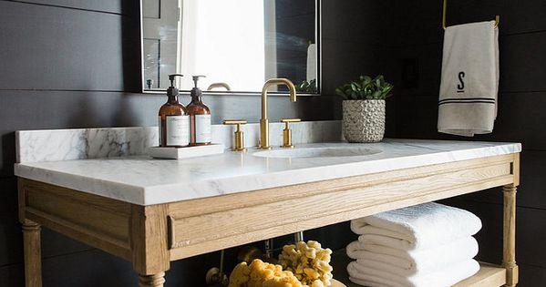 Bathroom With Reclaimed Wood Vanity White Marble