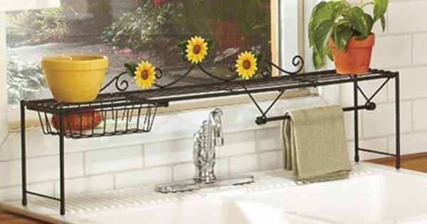 New Sunflower Over The Sink Storage Shelf Country Kitchen