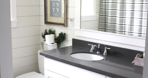 Simple Farmhouse Christmas Bathroom Using Shiplap Quartz