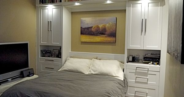Elegance Modern Murphy Bed With Grey Quilt And White Tv