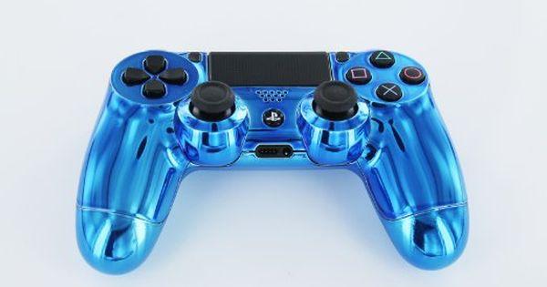 Blue Diamond PS4 Custom Modded Controller REAL CHROME