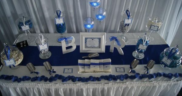 Navy Blue Wedding Blue And White Candy Buffet