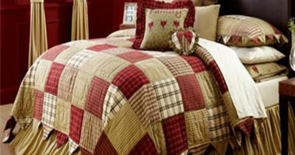 Red Country Patchwork Twin Queen Cal King Oversized Quilt