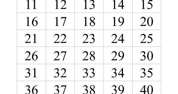 Printable Numbers Chart 1-50
