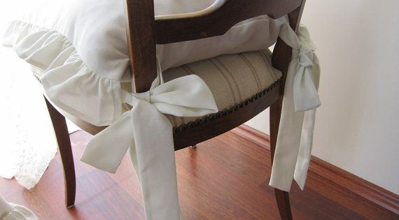 Chair Cushions With Ties-ruffle Linen Chair Cushion Covers