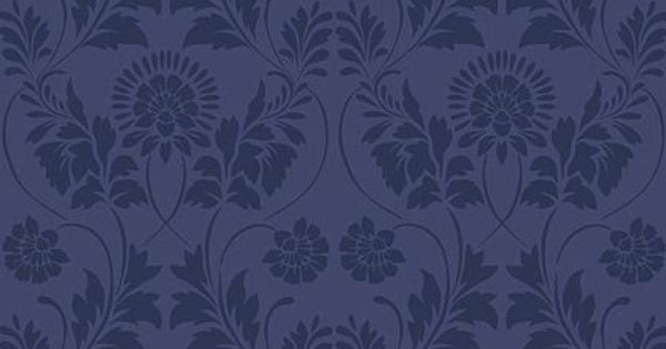 Interior Place - Navy Blue LS6172 Floral Damask Wallpaper ...