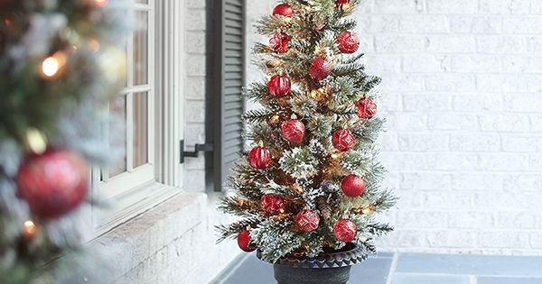 Martha Stewart Living 4 Ft. Pre-Lit Potted Sparkling Pine