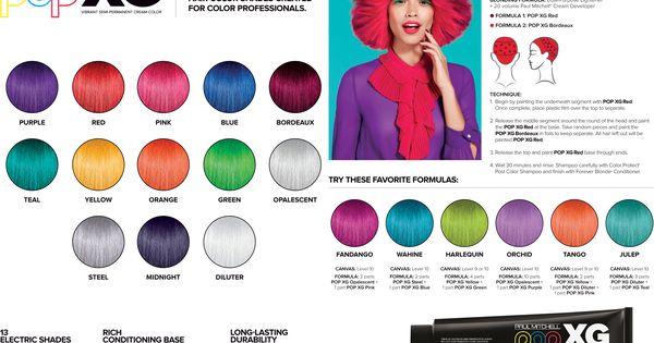 Paul Mitchell Pop XG Color Chart Color Charts