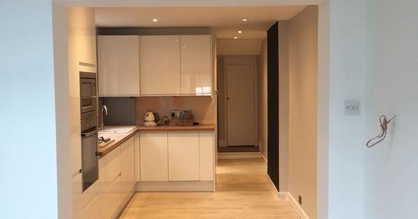 Kitchen Progress Howdens White Gloss Handless Units With