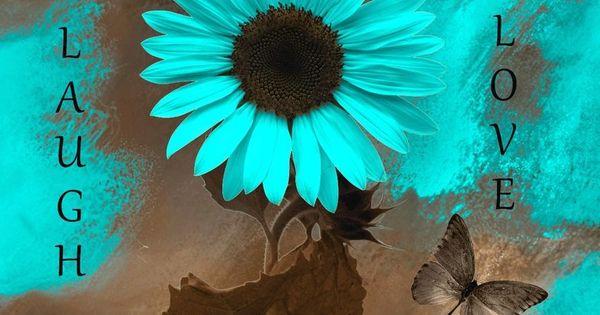 Teal Brown Wall Art Live Laugh Love Sunflower Butterflies