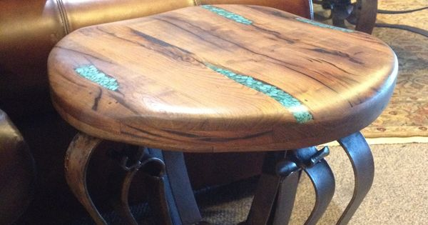 End Table With Turquoise Resin Inlaid In To Beautiful