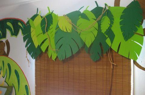 Themed Jungle Leaf Classroom Curtains Window Treatment