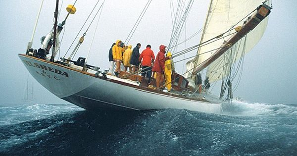J Class Yacht Velsheda On A Broad Reach In Foul Weather