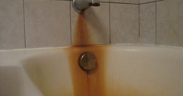 Rust Stains In A Bathtubafter Using Cotton And Bleach