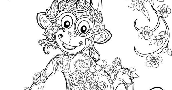 Monkey Coloriage Amp Mandala Pinterest Monkey Adult