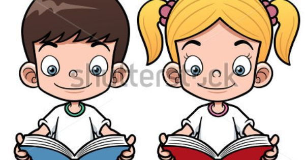 Vector Illustration Of Cartoon Boy And Girl Reading A Book