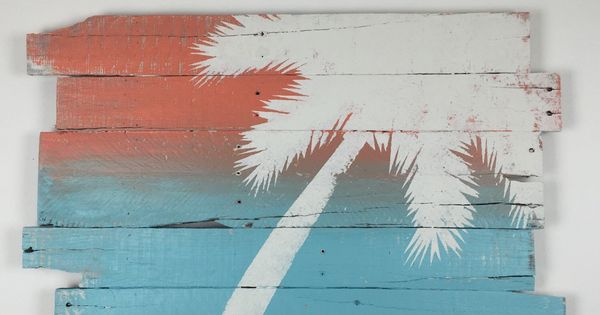 Beach Decor Wall Hanging Palm Tree Sunset Coastal