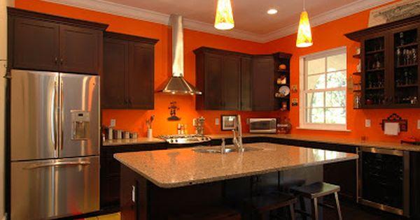 Bright Orange Kitchen Walls With Dark Stained Cabinets Paint It Orange Pinterest Orange