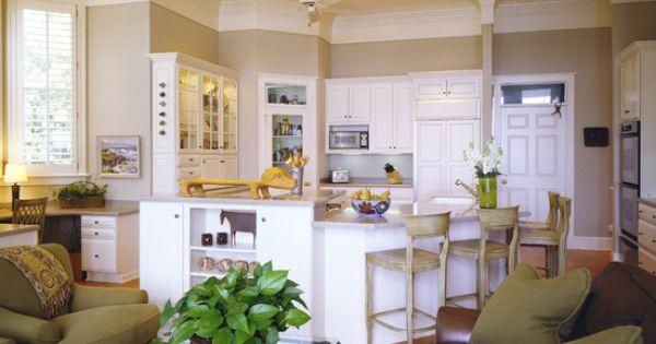 Baja Dunes With Sage Green Accents I Love Darker Hardwoods And Cream Vs The White Cabinetry
