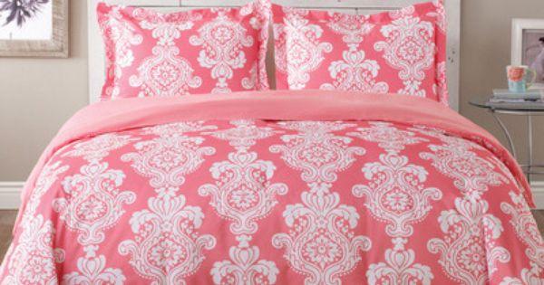 TOMMY HILFIGER Bright Pink & Green Damask 3p COMFORTER SET