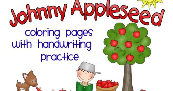 johnny appleseed coloring pages  handwriting practice