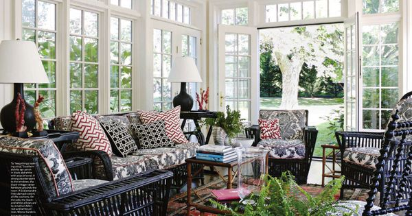 Black Red And White Sunroom With Lots Of Windows Rob