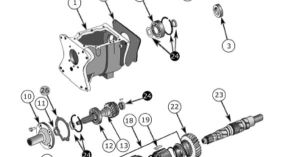 T176 and T177 4 Speed Transmission Exploded View Diagram