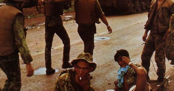 ARVN Rangers carrying wounded at Operation Lam Son 719 ...