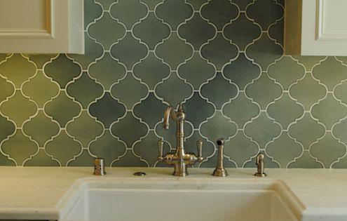 Cream Cabinets Brass Hardware Green Arabesque Tile Backsplash My Home Pinterest