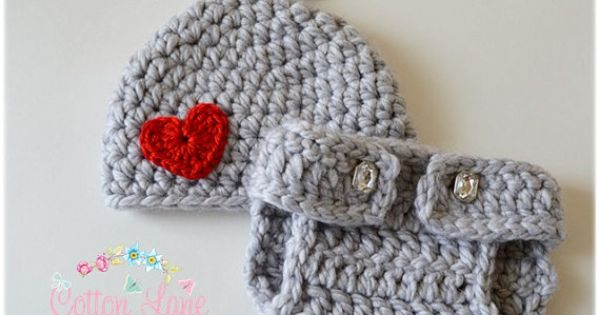 Hershey Kisses Hat And Diaper Cover Baby Girl Photo Prop Crochet Outfit Newborn Valentines