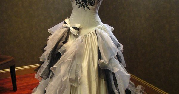 Sensational Silver And Black Wedding Dress Gothic
