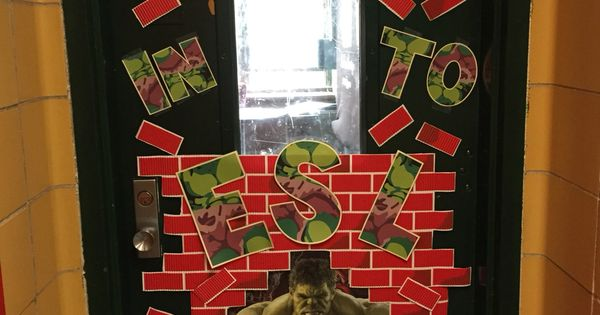 Fun Superhero Classroom Door Decoration Hulk Smash
