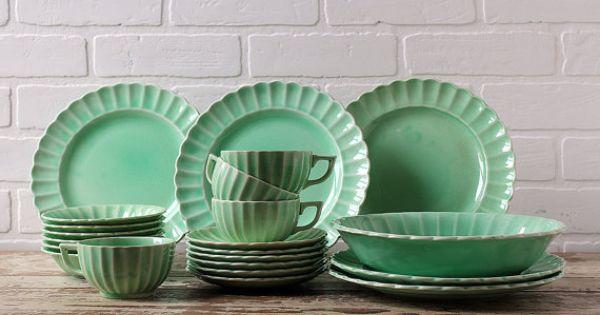 22 Pieces Of Vintage Dinnerware Jade Ware By Sebring