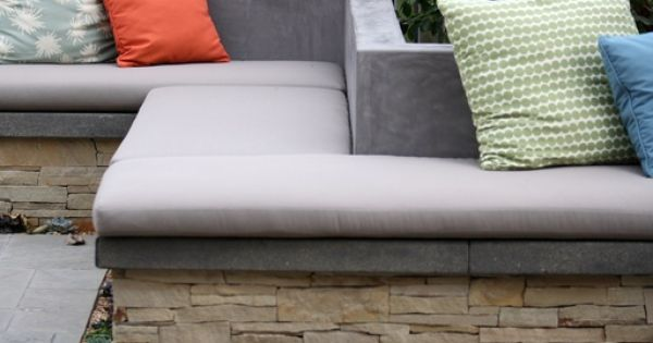Modern Patio With Laurie Bell Outdoor Bench Cushion Fence