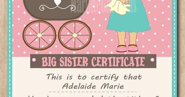 Personalized Big Sister Certificate Digital Printable