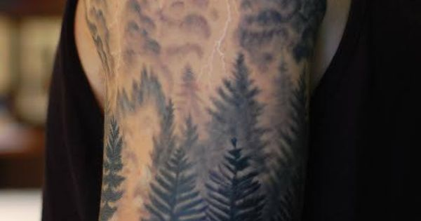 Forest, Campfire And Lightning Storm Tattoo By Kristy