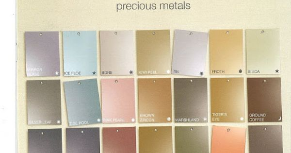 martha stewart s precious metals paint color chart on home depot wall paint colors id=58961
