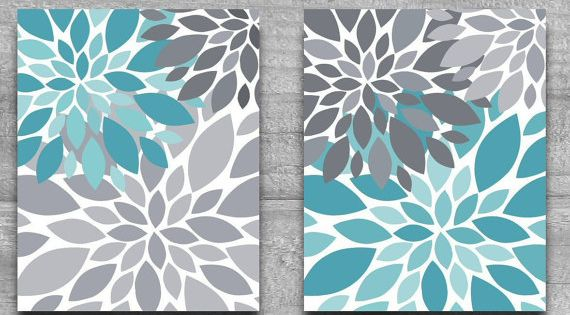 CANVAS ART Or PRINTS Turquoise Amp Gray Flower Burst Wall