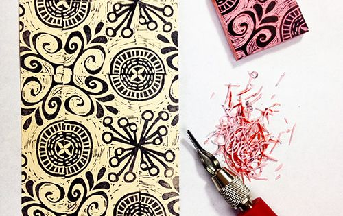 """carving a rotating repeat pattern stamp with a """"wood cut style ..."""