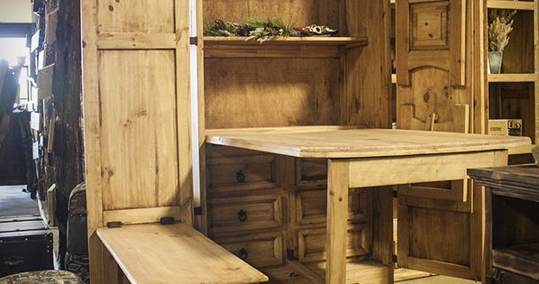 Chuck Wagon Armoire With Fold Out Table And Benches 692