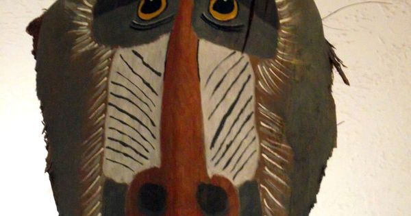 HAND PAINTED PALM TREE FROND MANDRILL MONKEY PALM FROND