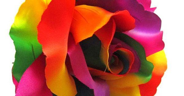 2X HUGE Rainbow Roses Artificial Silk Flower Heads 6
